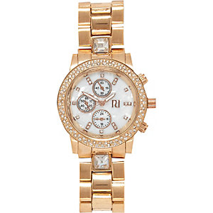 Rose gold tone oversized diamante watch