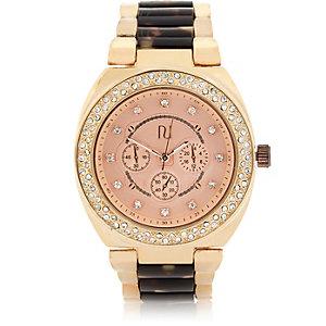 Gold tone medium tortoise shell watch