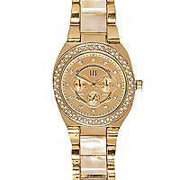 Gold tone cream face diamante watch
