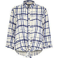 Blue check tie front shirt