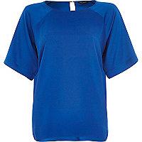 Blue oversized slit back top