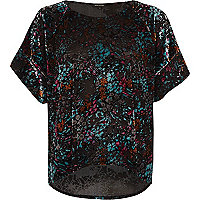 Black velvet rainbow print top