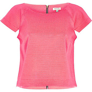 Pink cap sleeve structured top