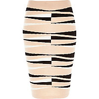 Pink graphic print pencil skirt