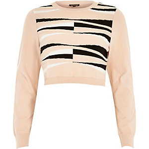 Pink graphic print knitted crop top