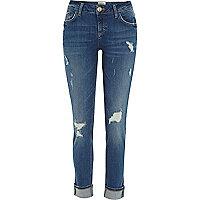 Mid wash distressed Daisy slim jeans