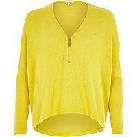 Yellow knitted zip front top