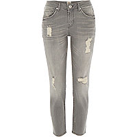 Grey distressed Eva girlfriend jeans