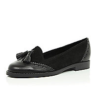 Black leather contrast panel tassel loafers