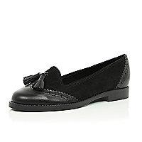 Black leather contrast panel tassel loafers