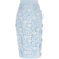 Blue flower and lace pencil skirt