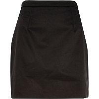 Black satin mini skirt