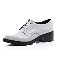 Grey leather smart lace up shoes