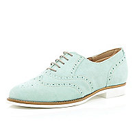 Green suede lace up brogues