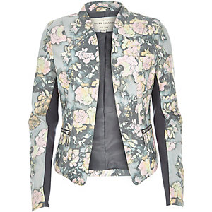 Grey floral print leather-look fitted jacket