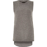 Grey sleeveless knitted tunic