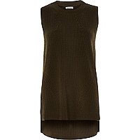 Khaki sleeveless knitted tunic