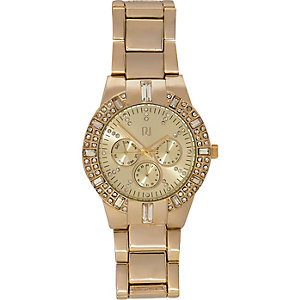 Gold tone chunky baguette diamante watch