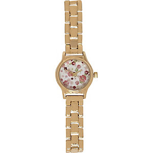 Gold tone ditsy floral print watch