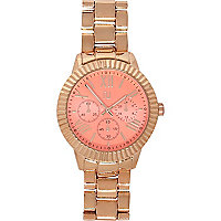 Rose gold tone pink face watch