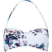 White floral print balconette bikini top