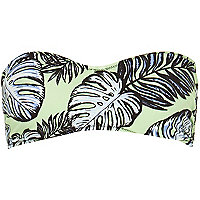 Green leaf print balconette bikini top