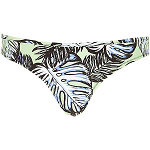 Green leaf print bikini bottoms