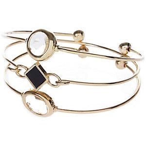 Gold tone delicate gemstone cuff set