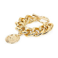 Gold tone chunky chain coin pendant bracelet