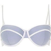 Light blue textured bustier bikini top