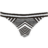 Black sporty stripe bikini bottoms