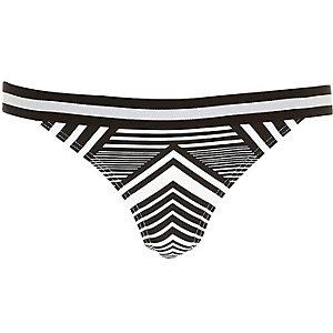 Black sporty stripe bikini bottoms