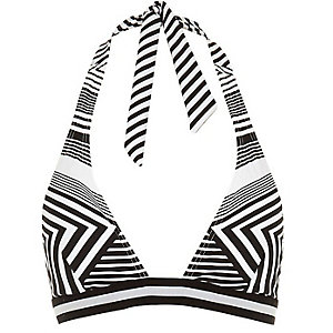 Black sporty stripe halter neck bikini top