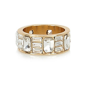 Gold tone baguette cut crystal ring