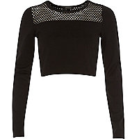 Black mesh panel long sleeve crop top