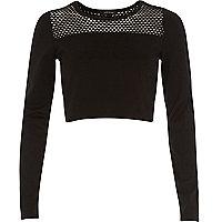 Black mesh panel long sleeve crop top