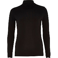 Black jersey polo neck