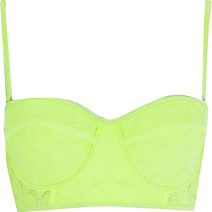 Lime green lace bustier bikini top