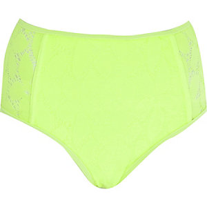 Lime green lace high waisted bikini bottoms
