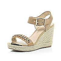 Beige leather chain front espadrille wedges