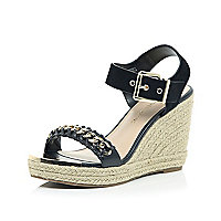 Black chain front espadrille wedges