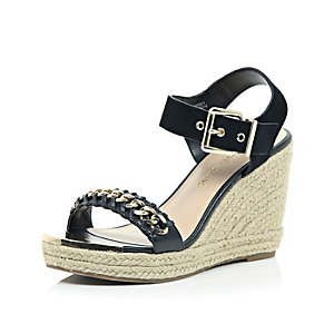 Black suede chain front espadrille wedges