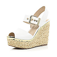 White buckle platform wedges