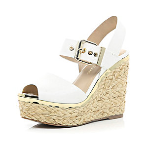 White buckle wedges