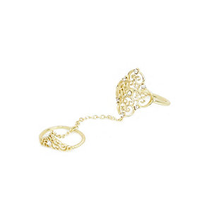 Gold tone diamante filigree chain ring