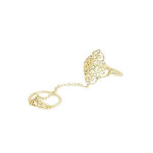 Gold tone diamante filigree chain ring