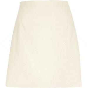 Cream leather-look A-line skirt