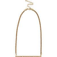 Gold tone diamante bar necklace
