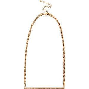 Gold tone diamante bar necklace