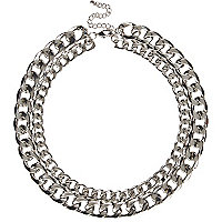 Silver tone double chain necklace